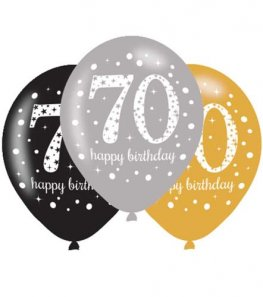 "11"" Gold Celebration 70th Birthday Latex Balloons 6pk"