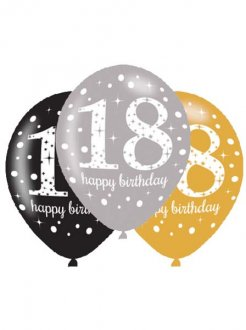 "11"" Gold Celebration 18th Birthday Latex Balloons 6pk"