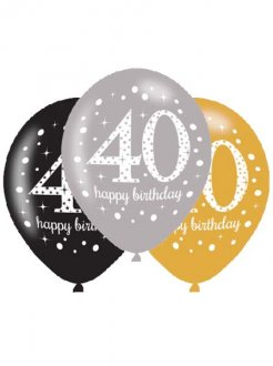"11"" Gold Celebration 40th Birthday Latex Balloons 6pk"