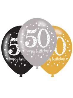 "11"" Gold Celebration 50th Birthday Latex Balloons 6pk"