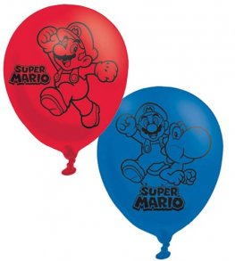 "11"" Super Mario Latex Balloons 6pk"