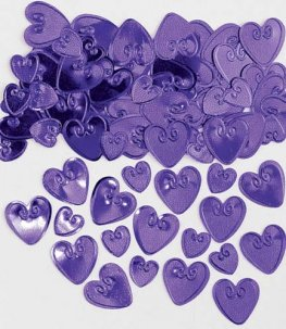 Purple Embossed Loving Hearts Metallic Confetti