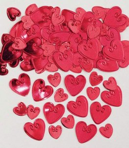 Ruby Red Embossed Loving Hearts Metallic Confetti