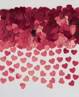 Burgundy Sparkle Hearts Metallic Confetti