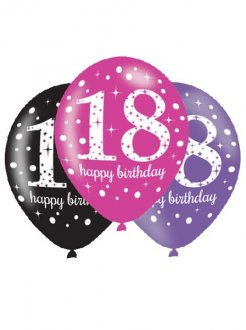 "11"" Pink Celebration 18th Birthday Latex Balloons 6pk"