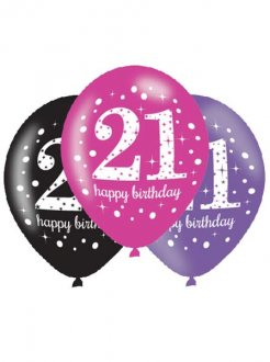 "11"" Pink Celebration 21st Birthday Latex Balloons 6pk"