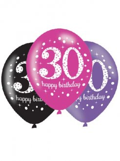 "11"" Pink Celebration 30th Birthday Latex Balloons 6pk"