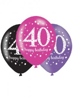 "11"" Pink Celebration 40th Birthday Latex Balloons 6pk"