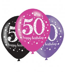 "11"" Pink Celebration 50th Birthday Latex Balloons 6pk"