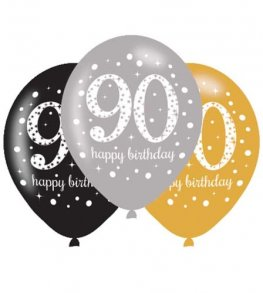 "11"" Gold Celebration 90th Birthday Latex Balloons 6pk"