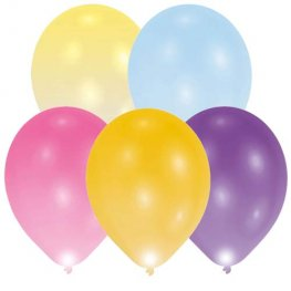"11"" Assorted Colour LED Light Balloons 5pk"