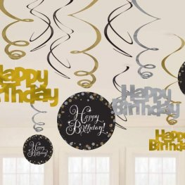 Happy Birthday Gold Celebration Swirls Decoration