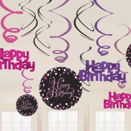 Happy Birthday Pink Celebration Swirls Decoration