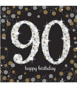 90th Birthday Gold Celebration Napkins 16pk