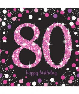 80th Birthday Pink Celebrations Napkins 16pk