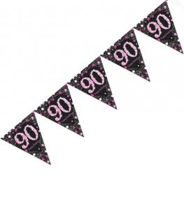 Pink Celebration 90th Birthday Banner