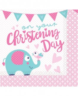 On Your Christening Day Pink Luncheon Napkins 16pk