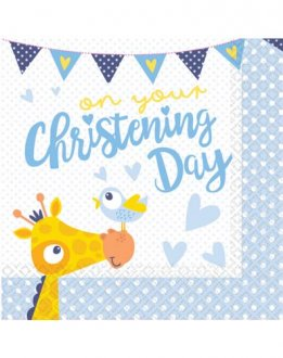 On Your Christening Day Blue Luncheon Napkins 16pk