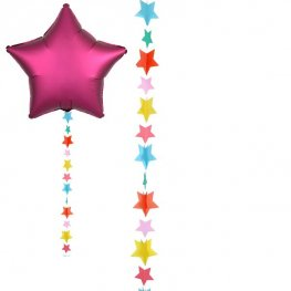 Multicoloured Star Balloon Tails