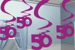 50th Pink Hanging Swirl Decoration