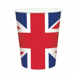 Great Britain Flag Paper Cups x8