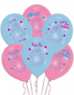 "11"" Peppa Pig Latex Balloons 6pk"