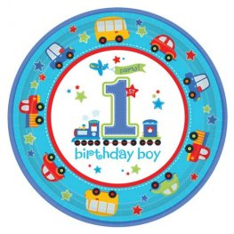 All Aboard Birthday Paper Plates x8