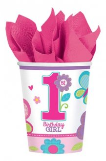 Sweet Birthday Girl Paper Cups x8