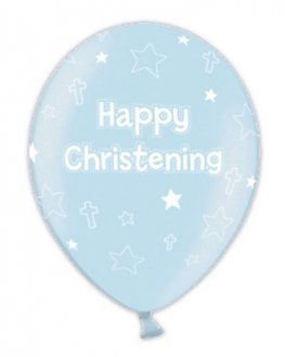 "11"" Blue Christening Latex Balloons 25pk"