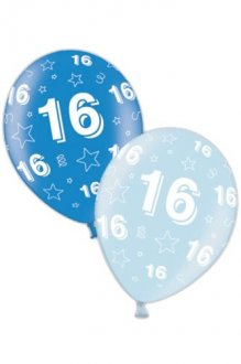 "11"" 16th Birthday Blue Latex Balloons 25pk"
