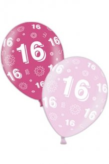 "11"" 16th Birthday Pink Latex Balloons 25pk"