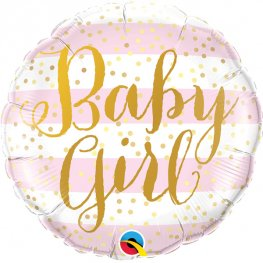"18"" Baby Girl Pink Stripes Foil Balloons"
