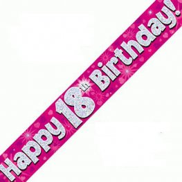 Happy 18th Birthday Pink Holographic Banner