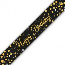 Black Sparkling Fizz Happy Birthday Holographic Banner