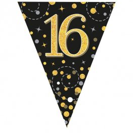 Happy 16th Birthday Black Sparkling Fizz Party Bunting