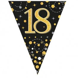 Happy 18th Birthday Black Sparkling Fizz Party Bunting