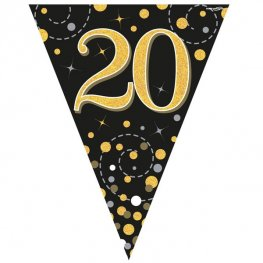 Happy 20th Birthday Black Sparkling Fizz Party Bunting