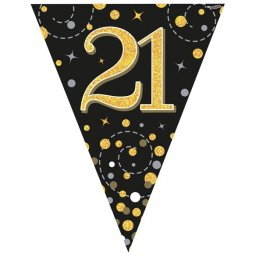 Happy 21st Birthday Black Sparkling Fizz Party Bunting