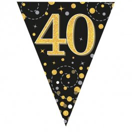 Happy 40th Birthday Black Sparkling Fizz Party Bunting