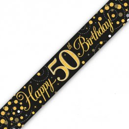 Black Sparkling Fizz Happy 50th Birthday Holographic Banner