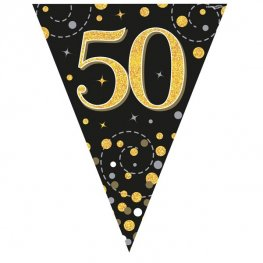 Happy 50th Birthday Black Sparkling Fizz Party Bunting