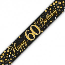 Black Sparkling Fizz Happy 60th Birthday Holographic Banner