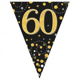 Happy 60th Birthday Black Sparkling Fizz Party Bunting