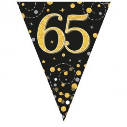 Happy 65th Birthday Black Sparkling Fizz Party Bunting