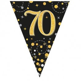Happy 70th Birthday Black Sparkling Fizz Party Bunting