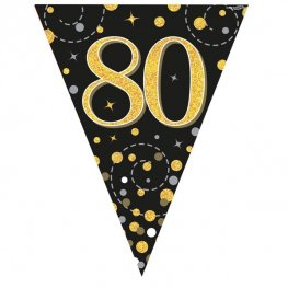 Happy 80th Birthday Black Sparkling Fizz Party Bunting
