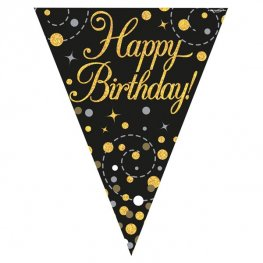 Happy Birthday Black Sparkling Fizz Party Bunting