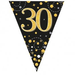 Happy 30th Birthday Black Sparkling Fizz Party Bunting