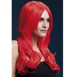 Neon Red Khloe Wigs