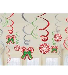 Candy Cane Swirl Foil Decorations 12pk